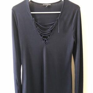 Express navy blue long sleeve top size medium